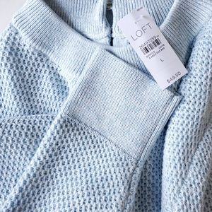Loft Light Blue Crew Neck Waffle Knit Sweater